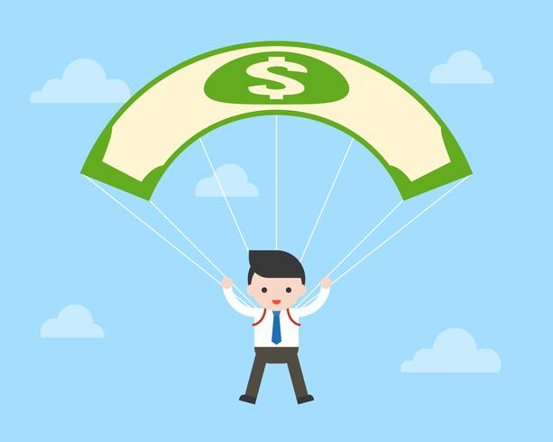 Volo del paracadute della banconota del dollaro dei soldi e dell'uomo di affari in cielo, concetto di affari