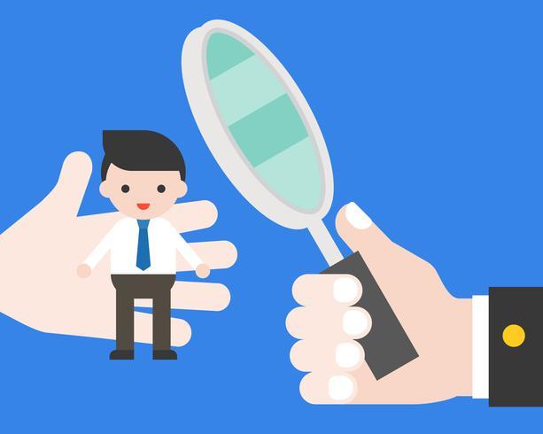 Hand houden vergrootglas voor kiezen een man en scankwaliteit