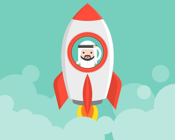 Netter arabischer Geschäftsmann in startender Rakete, Geschäftssituation beginnen oben Konzept
