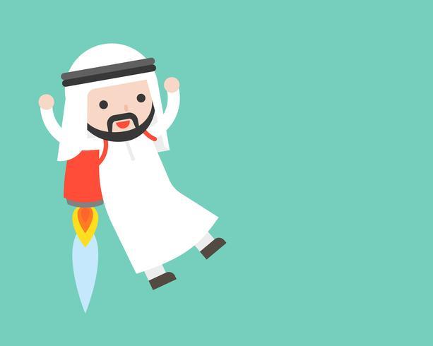 Homme d'affaires arabe mignon volant avec fusée de sac à dos