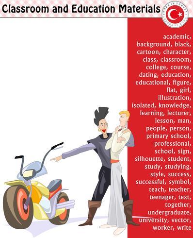 Schüler, Lehrer, Schattenbild, Zeichentrickfilm-Figuren, Junge, Mädchen, Mann, Frau, Lehrer, Schulbedarf, Briefpapier - ENV, Vektor
