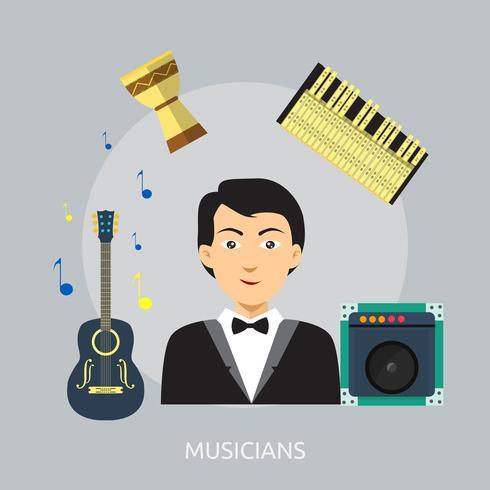 Ilustración conceptual de músicos diseño