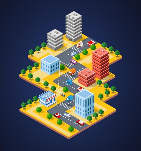 Bunte isometrische Stadt 3D