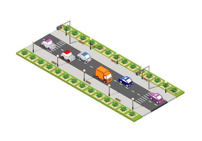Weg isometrische 3D-stad