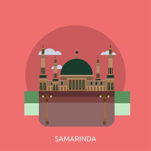 Progettazione concettuale dell'illustrazione di Samarinda City di Indonesia