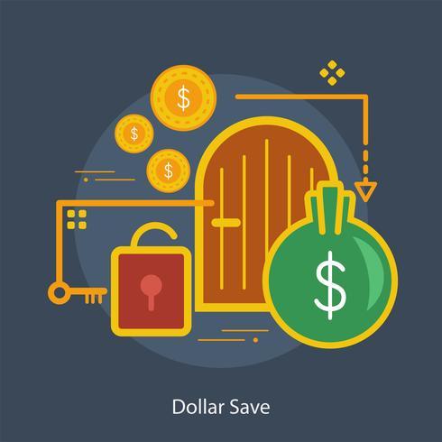 Dollar Bewaar Conceptueel illustratieontwerp