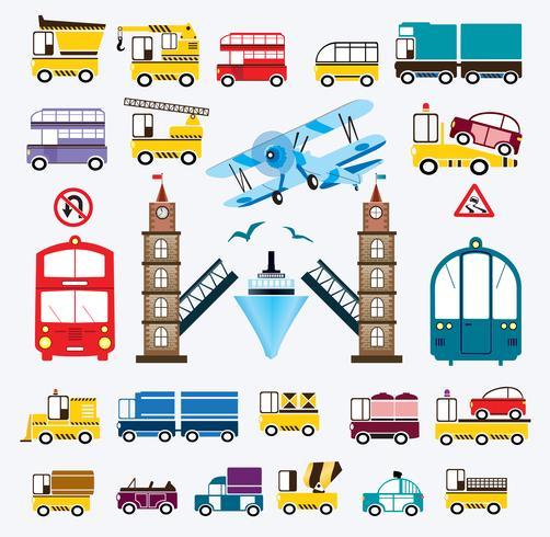 Conjunto de coches con un puente.