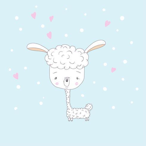 Cute baby Lama vector