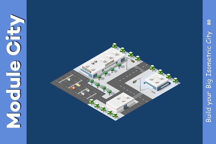 Isometric of the modern city vector