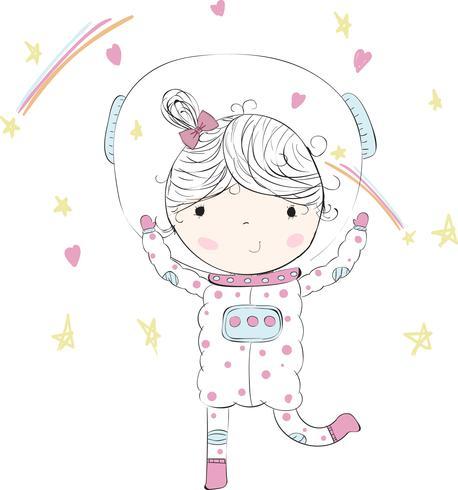 Schattige baby meisje in de ruimte vector