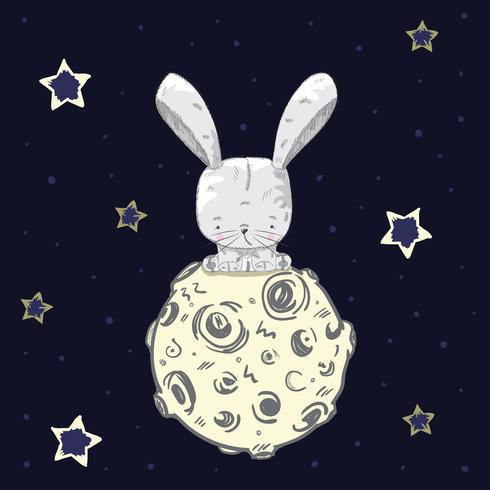 Cute baby rabbit on the moon