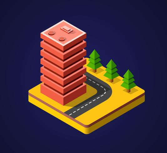Ciudad isométrica 3D colorido