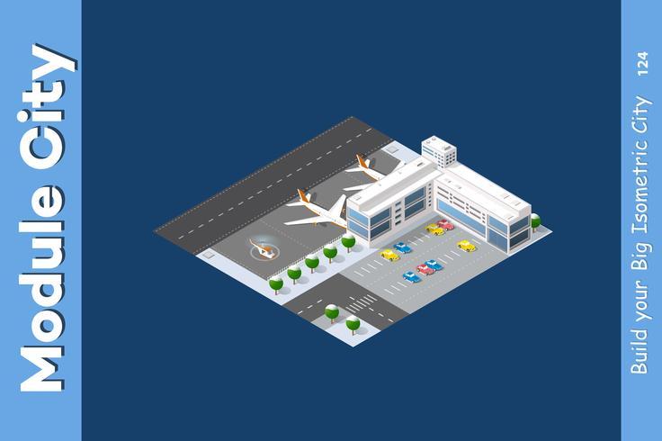 Aeropuerto isométrico de invierno vector
