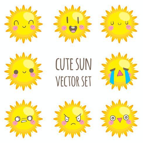 Cute sun vector set