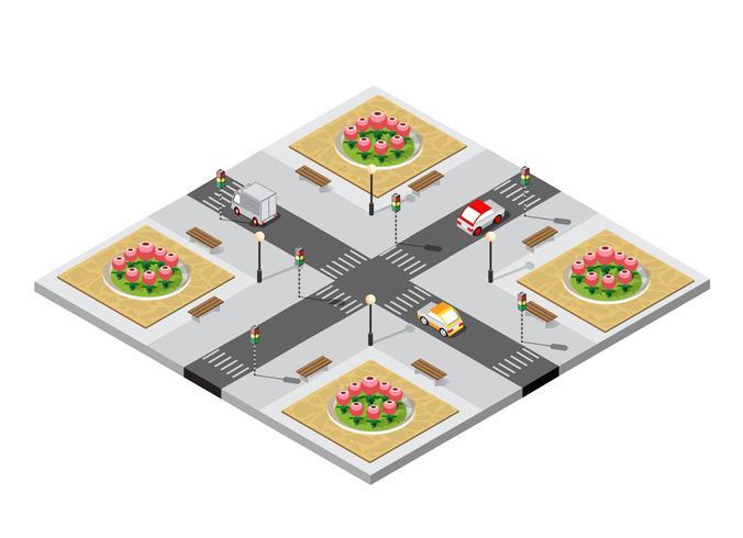 Ciudad isométrica intersección 3D