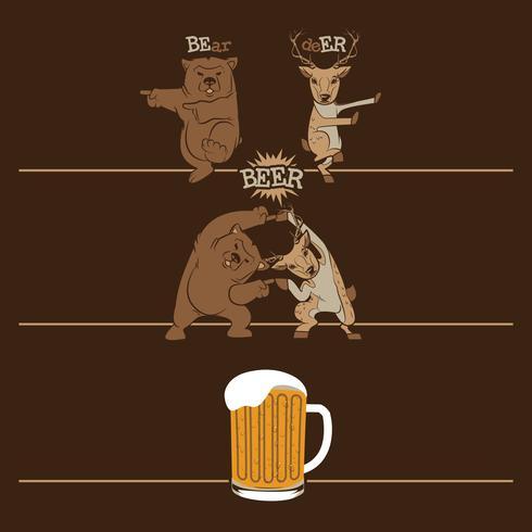 cerveza, oso de fusión y ciervos vector