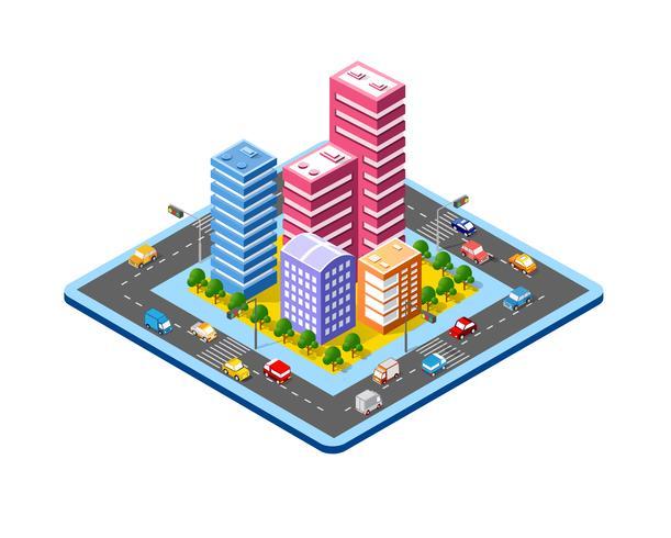 Färgglada 3d isometrisk stad