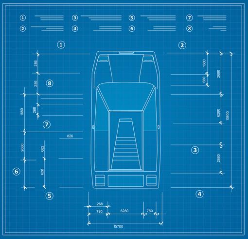 Top view of a set of urban cars blueprint vector