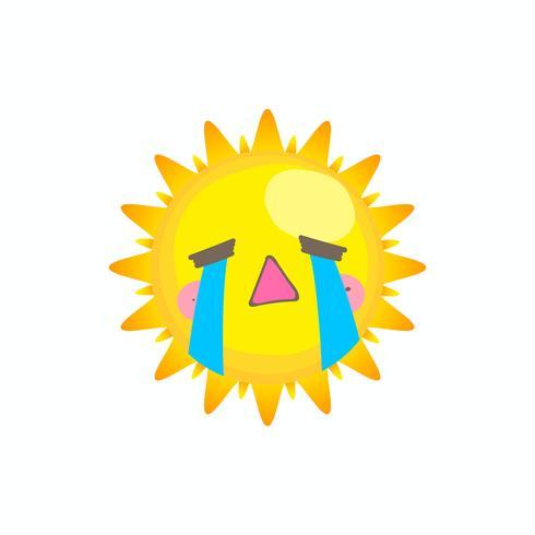 Schattig huilen zon vector