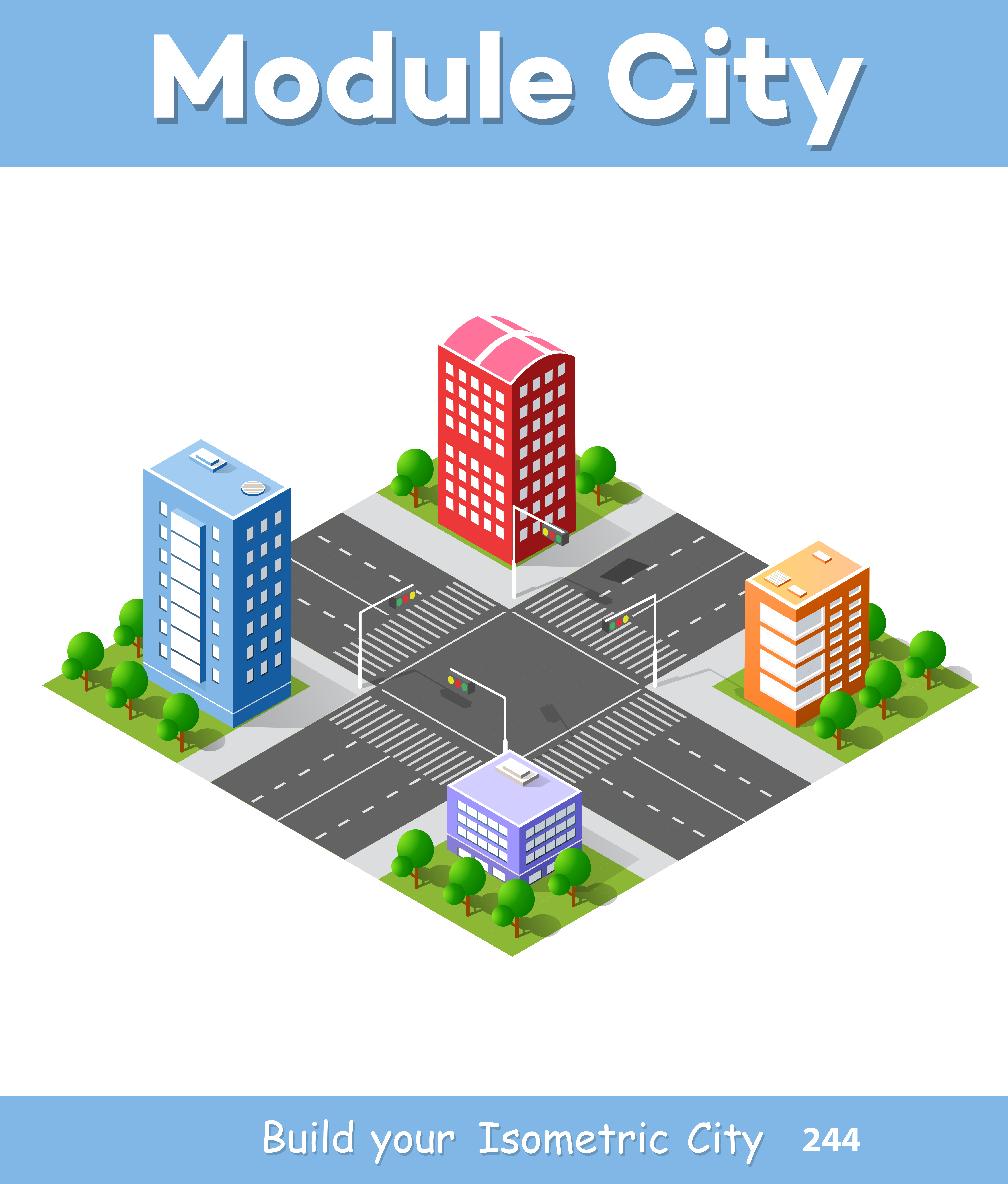 Colorful 3d isometric city download free vectors for Home design 3d professional italiano gratis
