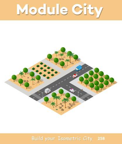 Vista isometrica di una fattoria vettore