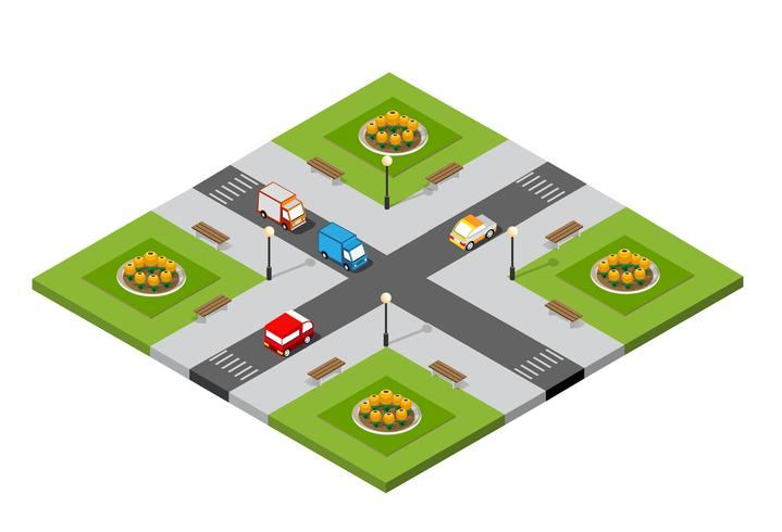 City isometric 3D intersection