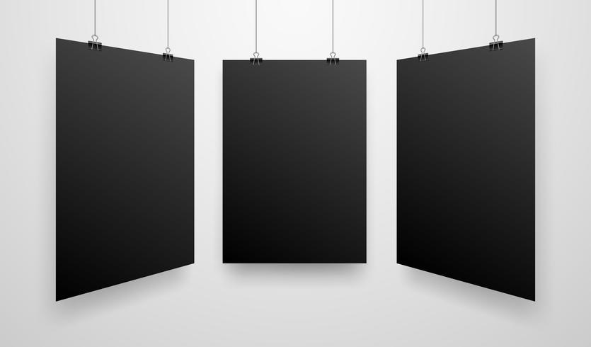 Modell-realistisches schwarzes Plakat-Hängen vektor