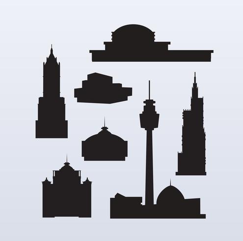siluetas de rascacielos de gran altura