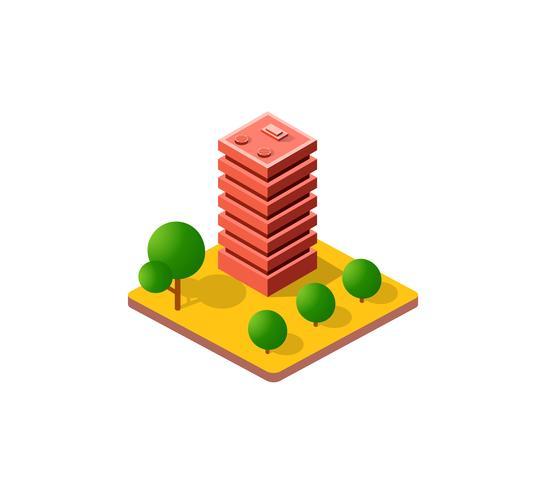 Cidade 3D isométrica colorida