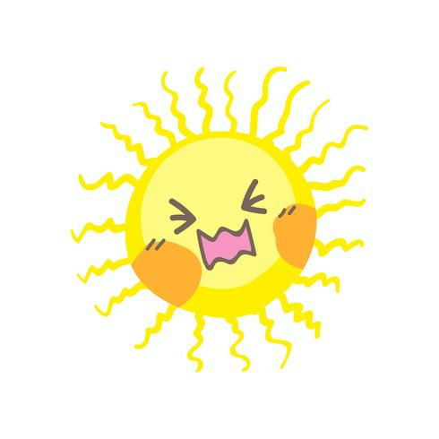 Cute cry sun vector