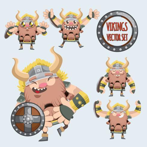 schattige Vikingen vector set