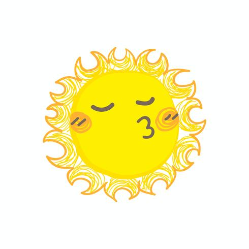 Cute smile sun vector