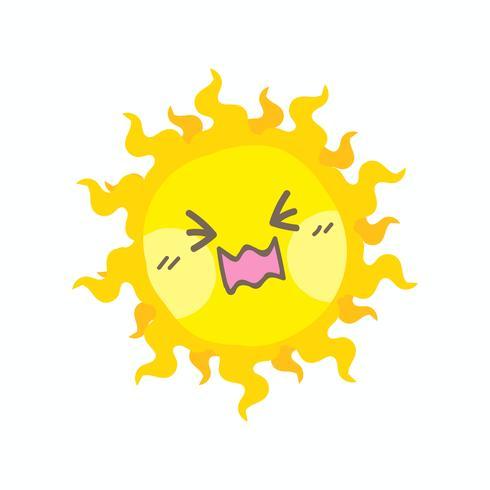 Cute cry sun vector