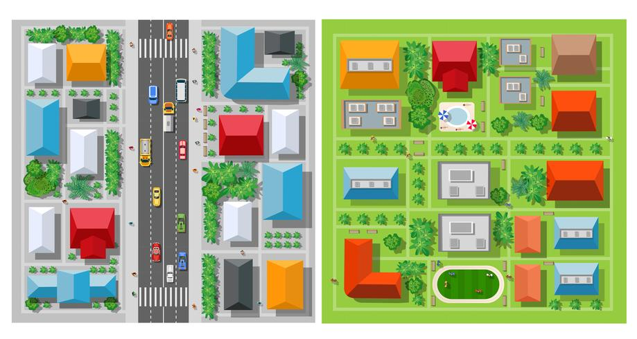 Top view of the city roof vector