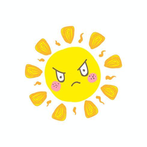 Netter verärgerter Sonnenvektor