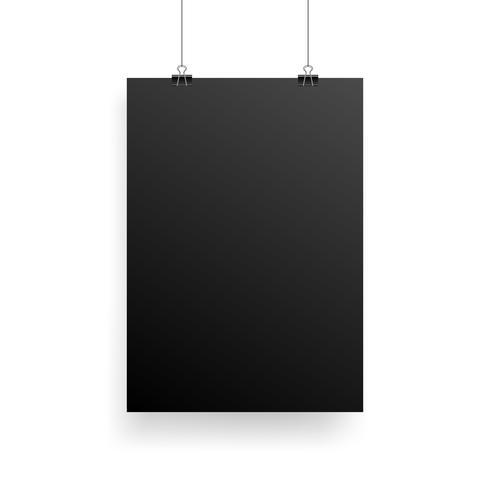Mock-Up Realistic Black Poster Hängande
