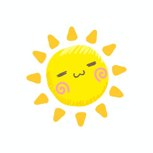 Cute smile sun vector
