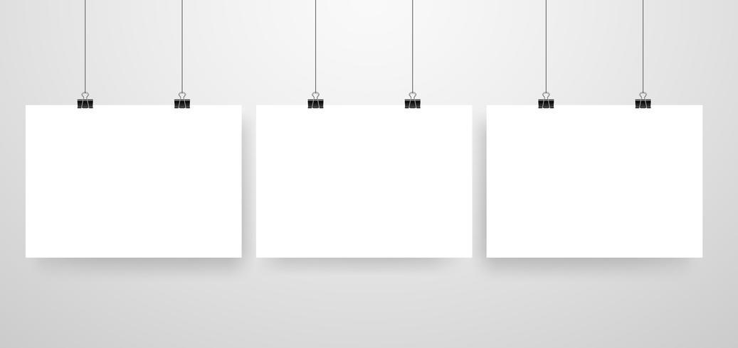 Mock-Up Realistische weiße Poster hängen vektor