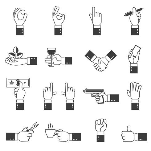 Hand Icons Black Set