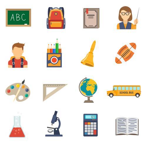 Onderwijs platte set vector