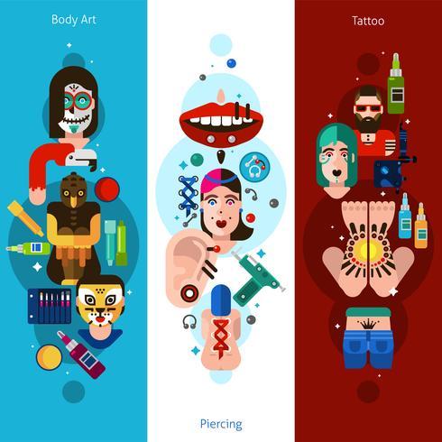 Bodyart Tattoo Piercing Vertical Banners