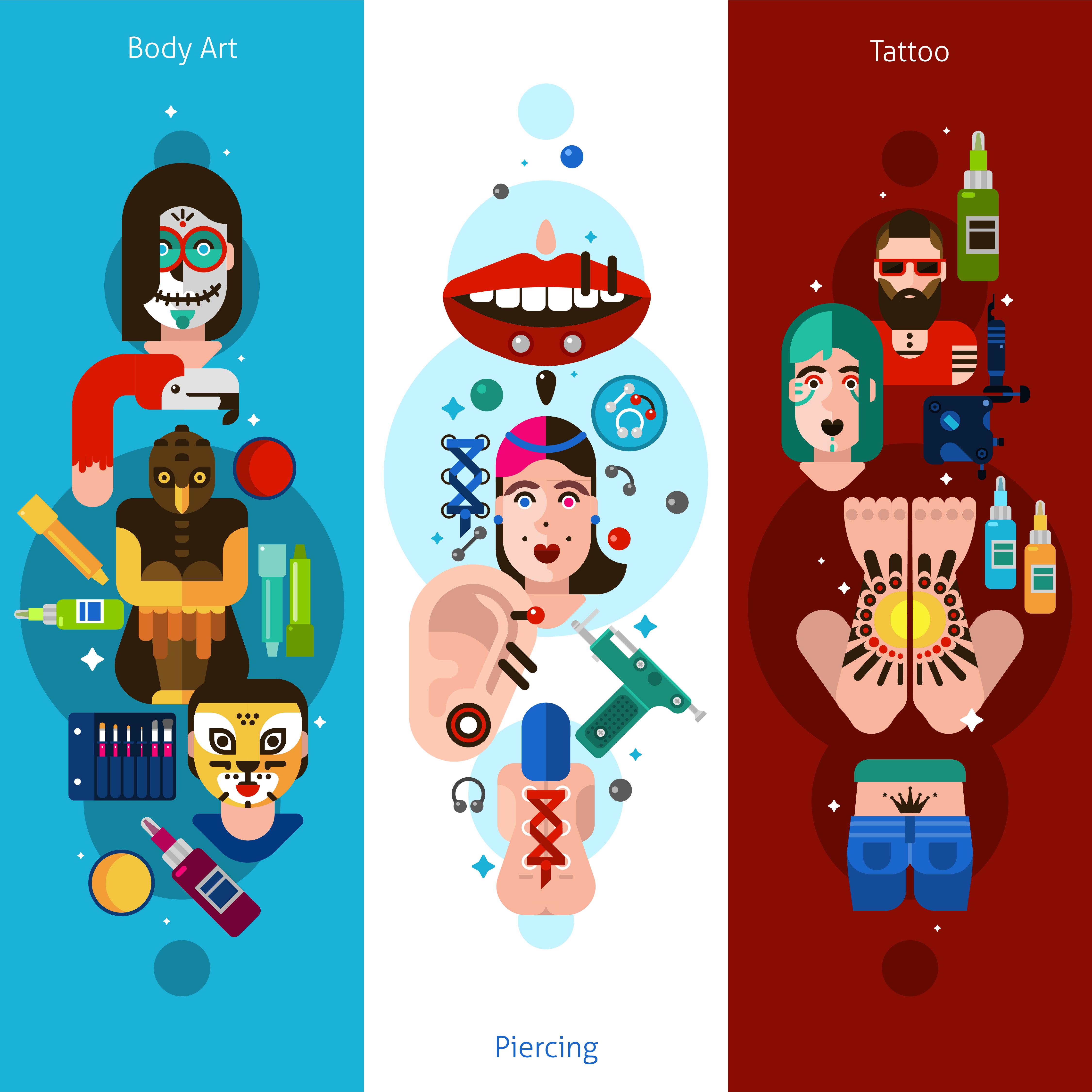 Bodyart Tattoo Piercing Vertical Banners Download Free Vectors Clipart Graphics Vector Art