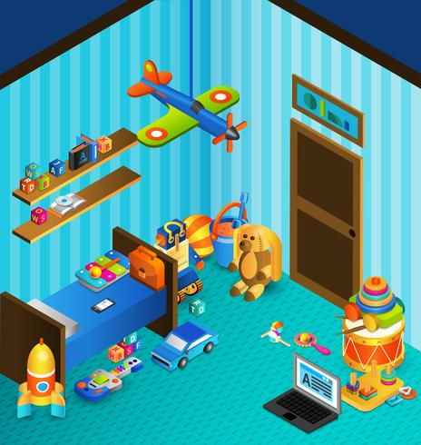 Conceito de sala de jogos isométrico