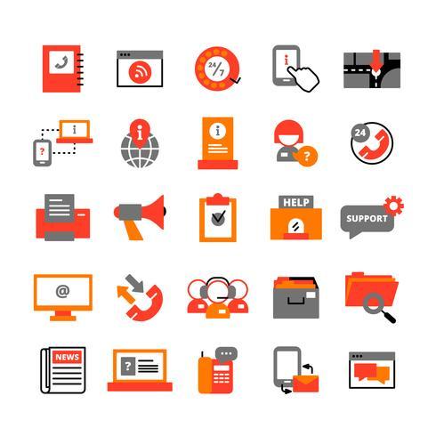 Conjunto de ícones de centro de suporte
