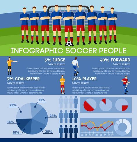 Infográfico de futebol com equipe e portão vetor