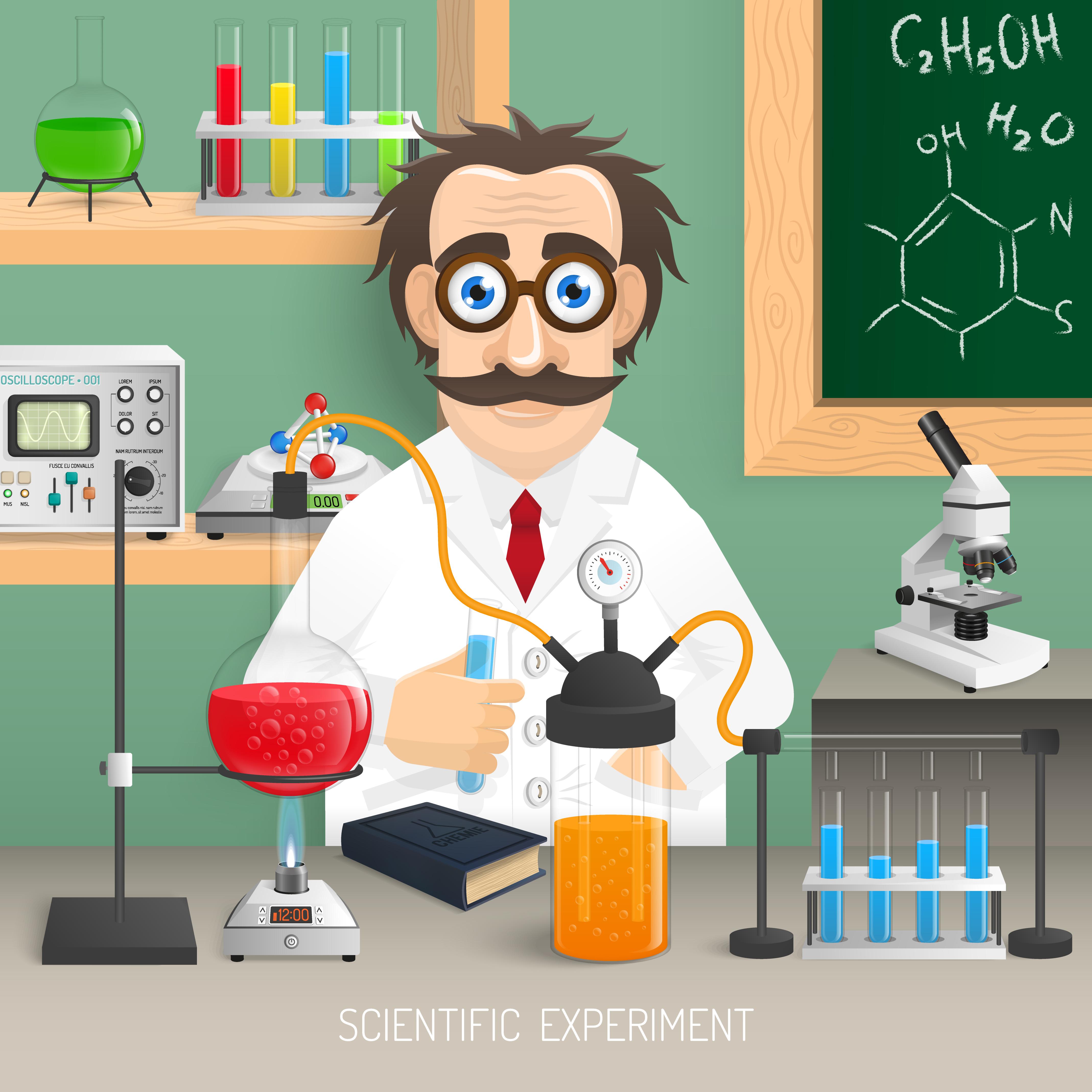 Flat Set Of Book Logos: Scientist In Chemistry Lab