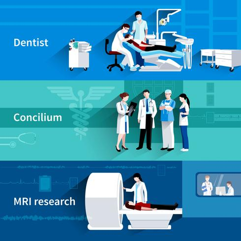 Conjunto de banners horizontais médicos especialistas 3