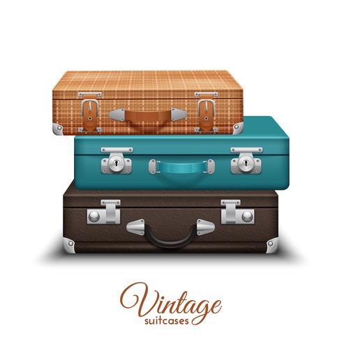 Pilha de malas vintage velhas