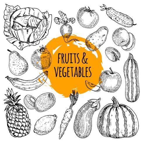 Doodle de mão desenhada de coleção de comida saudável