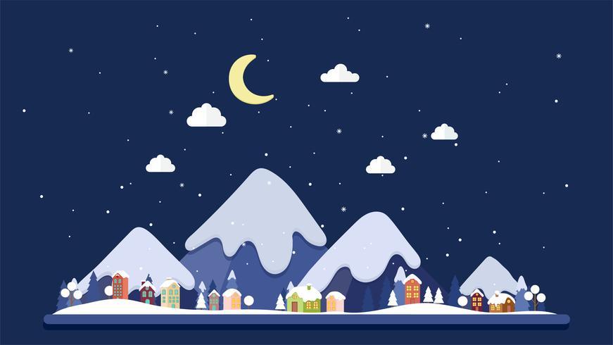 Flat design night of winter Landscape background